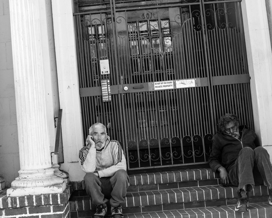 Homeless on stoop